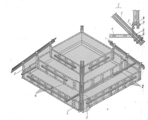 Пример компоновки блока опалубки внегабаритного ступенчатого фундамента